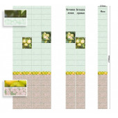 Стеновая панель ПВХ Век Яблоневый сад зеленый вставка 1 2700х250 мм Сэндвич Панели ПВХ